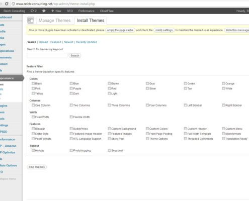 This is the Wordpress Theme Management Screen. You can use it to install new themes and to customize themes that are already installed on your blog.