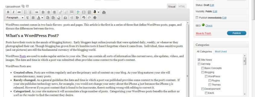 A picture of a WordPress post in the dashboard.