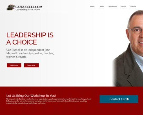 Caz Russel Website Homepage on Desktop